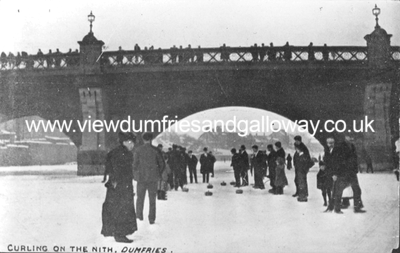 Curling on the Nith at Buccleuch Street bridge
