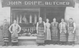 John Drife, butcher, shop and staff