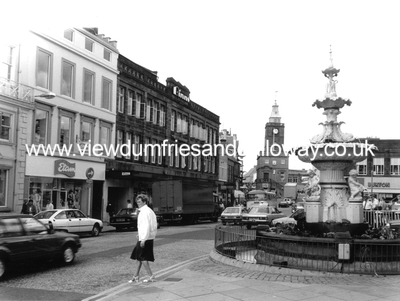 Dumfries High Street from fountain to Midsteeple